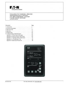 Open Transition Transfer Switch Controller Instructional Booklet