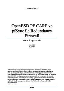 OpenBSD PF CARP ve pfsync ile Redundancy Firewall