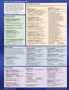 OpenCL TM API 1.0 Quick Reference Card