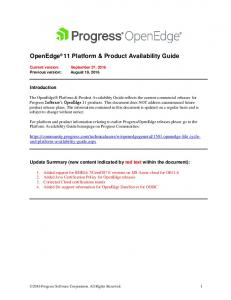 OpenEdge 11 Platform & Product Availability Guide