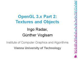 OpenGL 3.x Part 2: Textures and Objects
