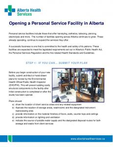 Opening a Personal Service Facility in Alberta