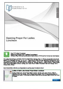 Opening Prayer For Ladies Luncheon