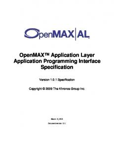OpenMAX Application Layer Application Programming Interface Specification