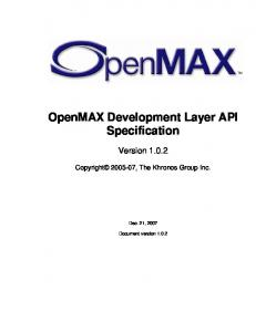 OpenMAX Development Layer API Specification
