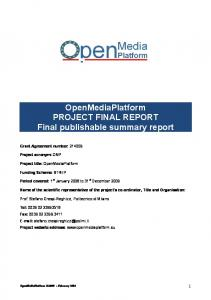 OpenMediaPlatform PROJECT FINAL REPORT Final publishable summary report