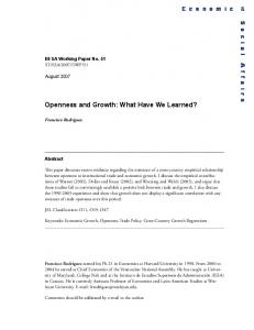 Openness and Growth: What Have We Learned?