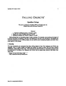 OpenStax-CNX module: m Falling Objects. OpenStax College