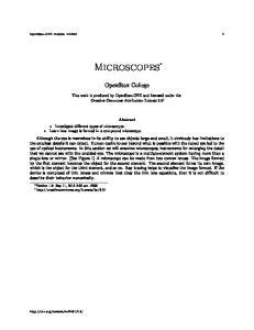 OpenStax-CNX module: m Microscopes. OpenStax College