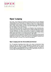 Oper Leipzig. Oper Leipzig und das Gewandhausorchester