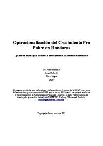 Operacionalización del Crecimiento Pro Pobre en Honduras