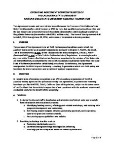 OPERATING AGREEMENT BETWEEN TRUSTEES OF THE CALIFORNIA STATE UNIVERSITY AND SAN DIEGO STATE UNIVERSITY RESEARCH FOUNDATION