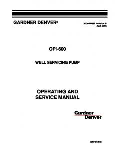 OPERATING AND SERVICE MANUAL
