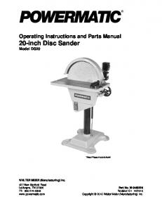 Operating Instructions and Parts Manual 20-inch Disc Sander Model DS20
