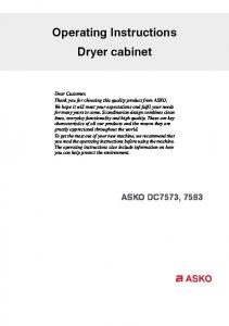 Operating Instructions Dryer cabinet