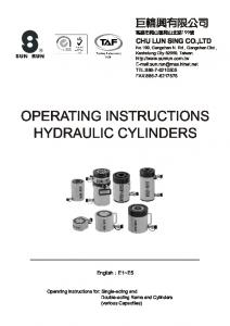 OPERATING INSTRUCTIONS HYDRAULIC CYLINDERS