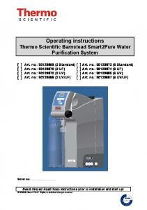Operating instructions Thermo Scientific Barnstead Smart2Pure Water Purification System