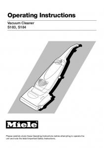 Operating Instructions Vacuum Cleaner S183, S184