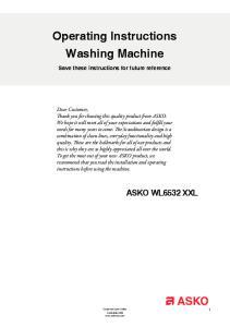 Operating Instructions Washing Machine