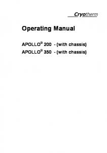 Operating Manual. APOLLO (with chassis) APOLLO (with chassis)