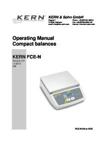 Operating Manual Compact balances