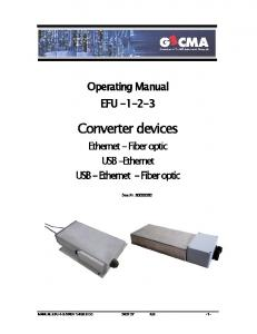 Operating Manual EFU Converter devices. Ethernet - Fiber optic USB -Ethernet USB - Ethernet - Fiber optic. Doc.Nr