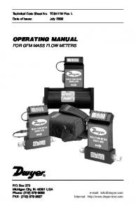 OPERATING MANUAL FOR GFM MASS FLOW METERS