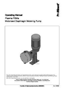 Operating Manual Plasma PSMa Motorised Diaphragm Metering Pump