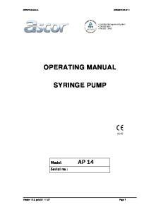 OPERATING MANUAL SYRINGE PUMP