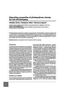 Operating properties of photopolymer stamps for hot foil stamping