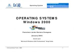 OPERATING SYSTEMS Windows 2000