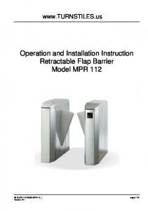 Operation and Installation Instruction Retractable Flap Barrier Model MPR 112