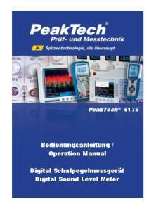 Operation Manual. Digital Schalpegelmessgerät Digital Sound Level Meter