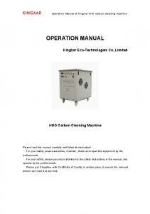 OPERATION MANUAL. HHO Carbon Cleaning Machine