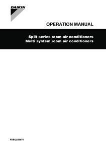 OPERATION MANUAL. Split series room air conditioners Multi system room air conditioners FDBQ25B8V1