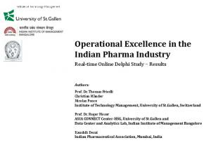 Operational Excellence in the Indian Pharma Industry