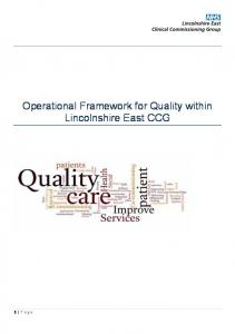 Operational Framework for Quality within Lincolnshire East CCG
