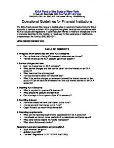 Operational Guidelines for Financial Institutions
