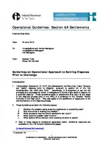 Operational Guidelines: Section 6A Settlements
