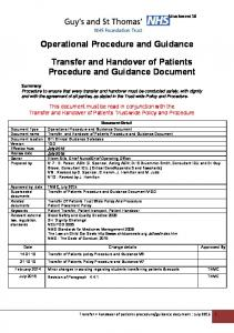 Operational Procedure and Guidance. Transfer and Handover of Patients Procedure and Guidance Document