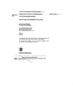 OPERATIONAL REQUIREMENTS DOCUMENT