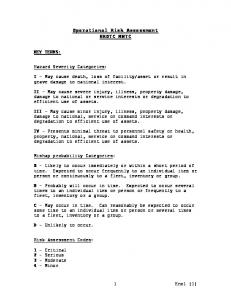 Operational Risk Assessment NROTC MWTC