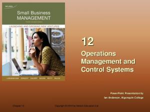 Operations Management and Control Systems