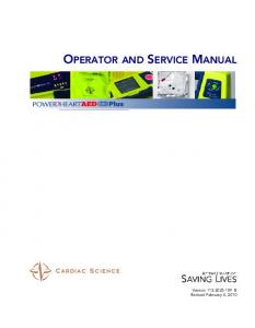 OPERATOR AND SERVICE MANUAL
