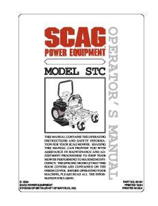 OPERATOR S MANUAL MODEL STC