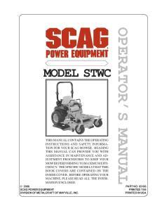 OPERATOR S MANUAL MODEL STWC
