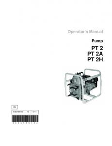 Operator s Manual. Pump PT 2 PT 2A PT 2H