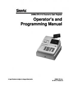 Operator's and Programming Manual