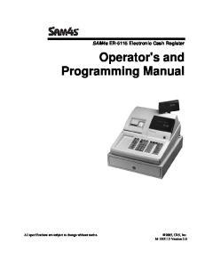 Operator's and Programming Manual