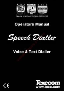Operators Manual. Voice & Text Dialler